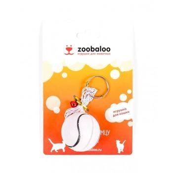 ZooBaloo Игрушка для кошек футбольный мячик-погремушка на резинке 1 м