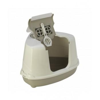 Moderna / Модерна Туалет-домик угловой Flip с угольным фильтром, 55х45х38 см, теплый серый