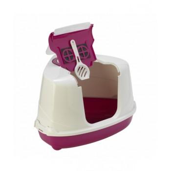 Moderna / Модерна Туалет-домик угловой Flip с угольным фильтром, 55х45х38 см, ярко-розовый