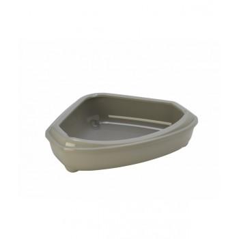 Moderna / Модерна Туалет-лоток угловой с рамкой corner+rim, 55х45х13, теплый серый