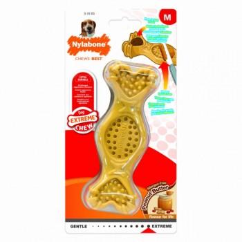 Nylabone / Нилабон Игрушка-косточка для лакомств экстра-жесткая, аромат арахисового масла, M