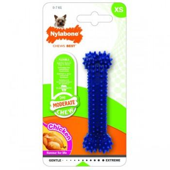 Nylabone / Нилабон Косточка для зубов умеренно-жесткая, аромат курицы, XS