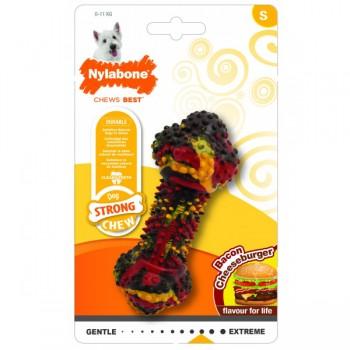 Nylabone / Нилабон Косточка жесткая, чизбургер с беконом, S