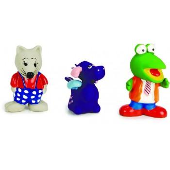 """Beeztees / Бизтис 000993 Набор игрушек д/собак """"Пищащие зверюшки: крыс, дракон, лягушонок"""", латекс 8-10 см"""