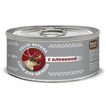 Solid Natura / Солид Натура Фаршевое консервированное питание корм д/щенков с Олениной 100 гр