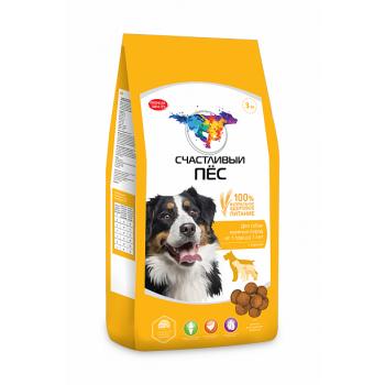 Счастливый пес для собак крупных пород от 1 года до 7 лет с курицей - 13 кг