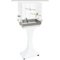 Imac / Имак клетка д/птиц CAMILLA, белый/серый, на колесах и подставке, 50х30х57/129 см