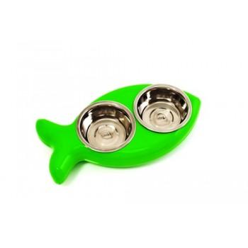 Hing / Хинг Миски на подставке Рыбка, нержав, 2шт*350мл (Англия), 8*20,5*40,5см, зеленый