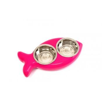 Hing / Хинг Миски на подставке Рыбка, нержав, 2шт*350мл (Англия), 8*20,5*40,5см, розовый
