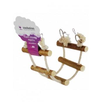ZooBaloo Игрушка для грызунов канатная лесенка c орешником, х/б L: 35х10 см