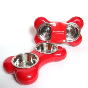 Hing / Хинг Миски на подставке Косточка, нержав, 2шт*350мл (Англия), 8*22*36см, красный