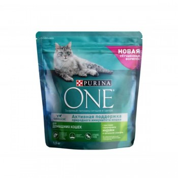 Purina One / Пурина Ван сухой корм д/кошек домашних индейка, цельн злаки, 750 гр
