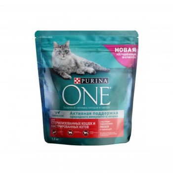Purina One / Пурина Ван сухой корм д/кошек д/стер лосось, пшеница, тунец, 1,5 кг