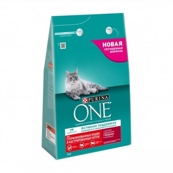 Purina One / Пурина Ван сухой корм д/кошек стерильных говядина/пшеница, 4x3 кг