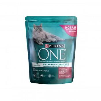 Purina One / Пурина Ван сухой корм д/кошек взрослых говядина, пшеница, 750 гр