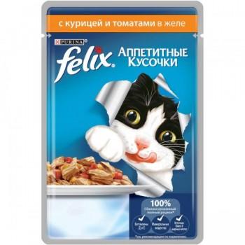 Felix / Феликс конс д/кошек кусочки в желе курица, томат, 85 гр
