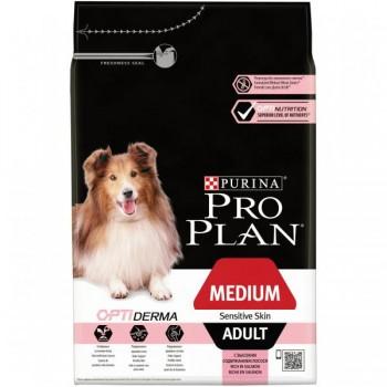 """Pro Plan / Про План """"Adult Medium Sensitive Skin"""" с комплексом OPTIDERMA сухой для собак средних пород 10 - 25 кг с чувствительной кожей Лосось 3 кг"""