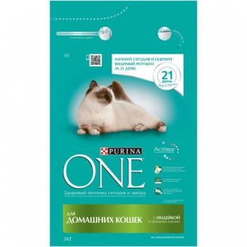 Purina One / Пурина Ван сухой корм д/кошек индейка, 4x3 кг