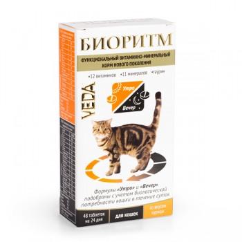 Veda / Веда БИОРИТМ функциональный витаминно-минеральный корм со вкусом курицы для кошек, 48 табл. по 0,5 гр
