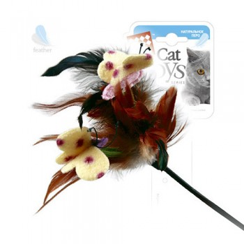 GiGwi / ГиГви Дразнилка с перьями на стеке 55 см, серия FEATHER TEASER