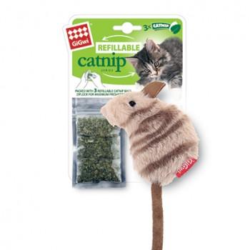GiGwi / ГиГви Игрушка для кошек Мышка с кошачьей мятой 10 см, серия REFILLABLE CATNIP