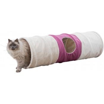 Trixie / Трикси Туннель для кошки XXL, плюш, ф 35 х 115 см, бежевый/фуксия