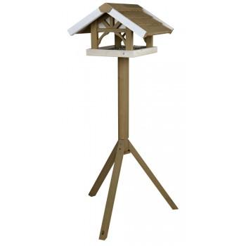Trixie / Трикси Кормушка уличная на подставке, сосна, 45 х 28 х 44 см/1.25 м, серый/белый