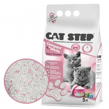 Cat Step / Кэт Степ Наполнитель для котят комкующийся минеральный Compact White Baby Powder, 5 л