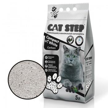 Cat Step / Кэт Степ Комкующийся минеральный наполнитель Compact White Carbon, 5 л