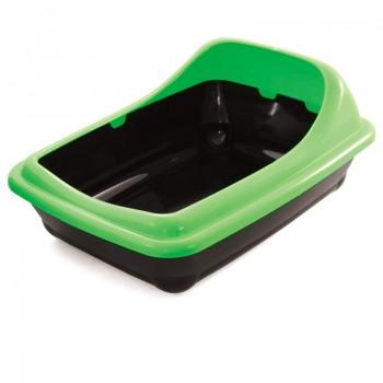 """Gamma / Гамма Туалет для кошек прямоугольный с ассиметричным бортом """"Волна"""", салатовый, 455*350*200 мм"""