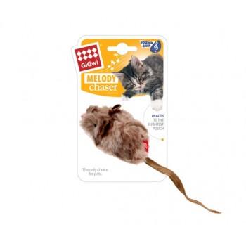 GiGwi / ГиГви Игрушка для кошек Мышка со звуковым чипом 9 см, серия MELODY CHASER