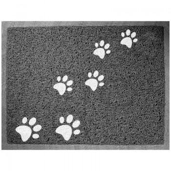 """Triol / Триол Коврик для кошачьего туалета прямоугольный """"Лапки"""", серый, 600*400мм"""