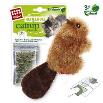 GiGwi / ГиГви Игрушка для кошек Бобренок с кошачьей мятой 16 см, серия REFILLABLE CATNIP
