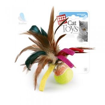GiGwi 75068 Мячик с перьями/перо куриное, теннисный материал