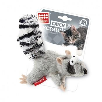 GiGwi / ГиГви Игрушка для кошек Енот с кошачьей мятой 8 см, серия CATCH & SCRATCH
