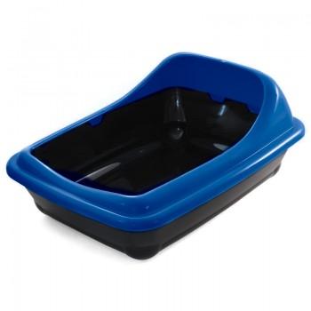 """Gamma / Гамма Туалет для кошек прямоугольный с ассиметричным бортом """"Волна"""", синий, 455*350*200 мм"""