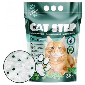 Cat Step / Кэт Степ Наполнитель впитывающий силикагелевый Crystal Fresh Mint, 3,8 л