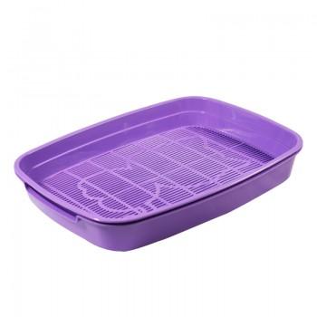 """Gamma / Гамма Туалет для кошек с сеткой малый """"Леопольд"""", фиолетовый, 340*260*50 мм"""