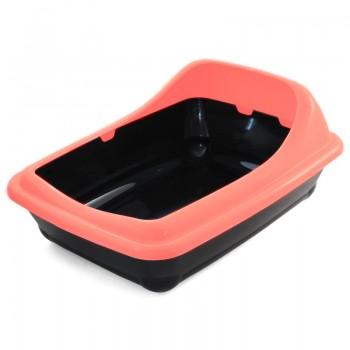 """Gamma / Гамма Туалет для кошек прямоугольный с ассиметричным бортом """"Волна"""", коралловый, 455*350*200 мм"""