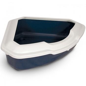 Triol / Триол Туалет CT03 для кошек угловой с бортом, темно-синий, 565*425*150мм
