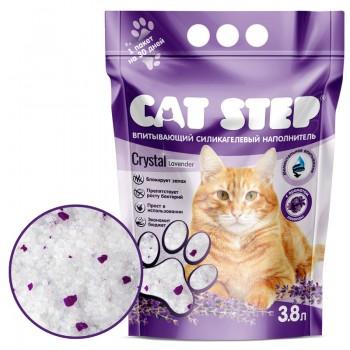 Cat Step / Кэт Степ Наполнитель впитывающий силикагелевый Crystal Lavander, 3,8 л