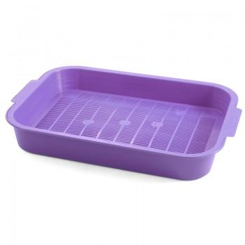 """Gamma / Гамма Туалет для кошек с сеткой """"Колор"""", фиолетовый, 380*280*55 мм"""