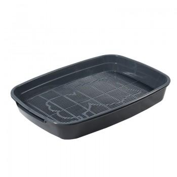 """Gamma / Гамма Туалет для кошек с сеткой малый """"Леопольд"""", серый, 340*260*50 мм"""