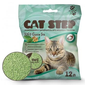 Cat Step / Кэт Степ Наполнитель комкующийся растительный Tofu Green Tea, 12 л