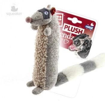 GiGwi / ГиГви Игрушка для собак Енот с пищалкой 17 см, серия PLUSH FRIENDZ