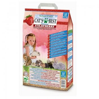 Наполнитель для кошачьих туалетов Cat's Best Universal 10л*5,5кг с ароматом клубники, древесный комк