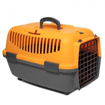 Triol / Триол Переноска для животных TRAVEL с пластиковой дверцей S, оранжевая, 480*320*320мм