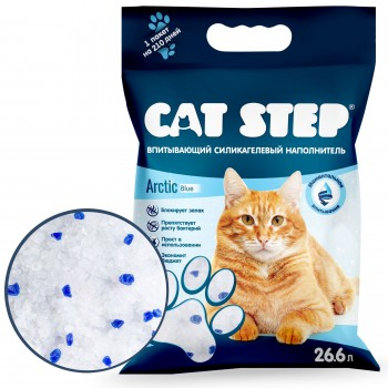 Cat Step / Кэт Степ Наполнитель впитывающий силикагелевый Arctic Blue, 26,6 л