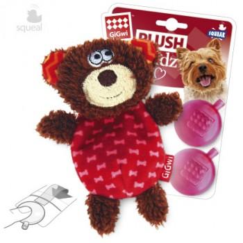 GiGwi / ГиГви Игрушка для собак Мишка со сменными пищалками 13 см, серия PLUSH FRIENDZ