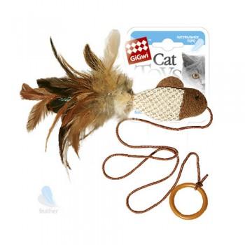 GiGwi / Гигви 75026 Дразнилка (рыбка) на палец с кольцом/ткань, пластик, куриное перо